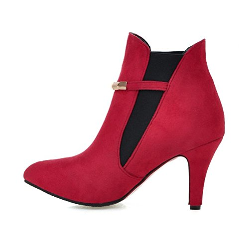 Agodor Women's High Heels Ankle Boots With Buckle Pointed Toe Slip On Autumn Winter Shoes Wine-red WjG9U