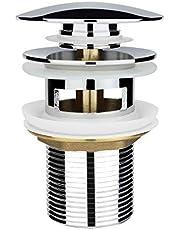 Chrom Universal Ablaufgarnitur für Waschbecken & Waschtisch Modernes Pop-Up Click Clack Ventil – Ablaufventil mit Überlauf, Abflussgarnitur Werkzeugloser Einbau