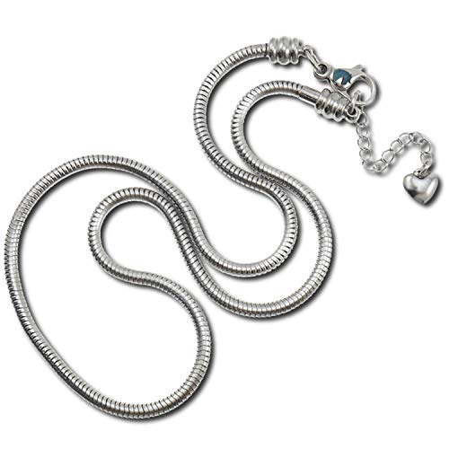 European Charm Bracelet Necklace for Women and Girls Bead Charms, Stainless Steel Snake Chain, Claw 20 Inch