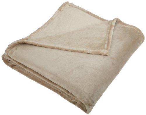 - Pinzon Velvet Plush Blanket - Full or Queen, Sand