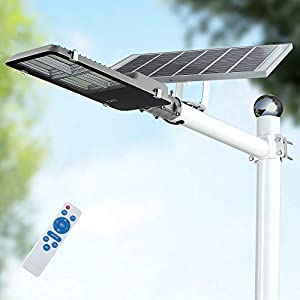120W LED Solar Street Lights, Outdoor Dusk to Dawn Pole Light with Remote Control, Waterproof, Ideal for Parking Lot…
