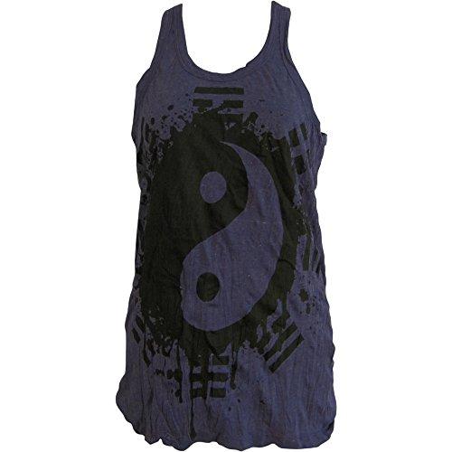 Sure Hippie Yoga Yin & Yang Crinkled Cotton Tunic Tank Top Blouse No90 Purple ()