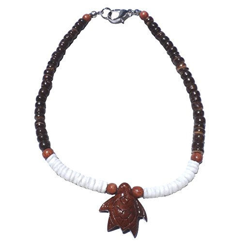 Hawaiian Jewelry Black Coconut and Puka Shell with Koa Wood Turtle Anklet