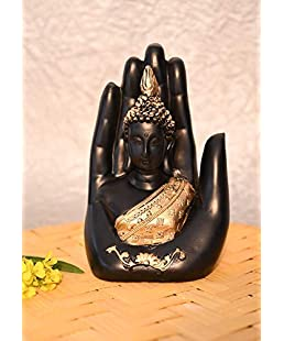HHI Black and Gold Decorative Fang Shui Polyresin Palm Buddha for Gifting Purpose