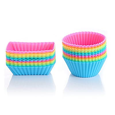 Solefun Silicone Cupcake Baking Cups 24 Pack Cupcake Liners