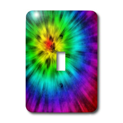 3dRose LLC lsp_20491_1 Tie Dye 4 Starburst Design Displays a Spectrum of Different Colors - Single Toggle Switch