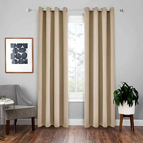 Lewondr Blackout Curtain, 2 Panels Room Darkening Blackout Window Curtain Light Block Thermal Insulated Liner Drape with Grommets for Kids Bedroom Living Room 52×95 Inch 132×240 cm – Beige