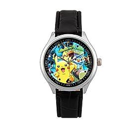 Pikachu Pokemon Black Leather Round Wrist Watch Limited Edition