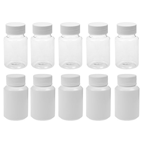 3.5 Ounce Clear Bottles (BCP 5pcs 80ml Plastic Clear Color + 5pcs 100ml White Color Solid Powder Medicine Pill Cylindrical Chemical Laboratory Experiment Leak Proof Bottle)