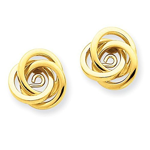 14k Gold Polished Love Knot Jackets for Stud Earrings 0.43 Height