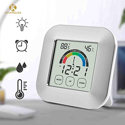 Price comparison product image Kimdio Alarm Clock Touch Control Digital Thermometer Hygrometer Clock LCD Backlight Table Clock Comfort Index Display Temperature Humidity Meter Time for Bedroom Office