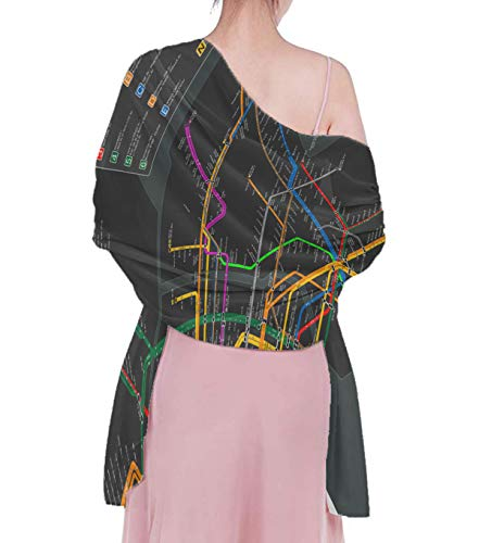 Sun Wrap Shawls for Women, Breathable And Lightweight New York Subway Map Stole, Charming Sexy Beach Wrap, Party Dress Decor, 70.8 x 39 -