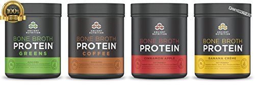 #GETBROTHED Bone Broth Protein Powder - New Greens, Coffee, Banana Creme and Cinnamon Apple Bundle Pack by Ancient Nutrition
