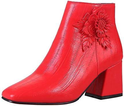 276852db9cc LILICAT✈✈ Moda 2019 Cabeza Cuadrada Retro con tacón Alto Flores de Moda  Lado Salvaje con Cremallera Botines de Mujer de Gran tamaño Zapatos de  tacón Alto ...