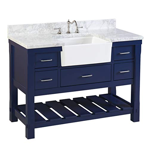 Charlotte 48-inch Bathroom Vanity (Carrara/Royal Blue): Includes a Carrara Marble Countertop, Royal Blue Cabinet with Soft Close Drawers, and White Ceramic Farmhouse Apron Sink