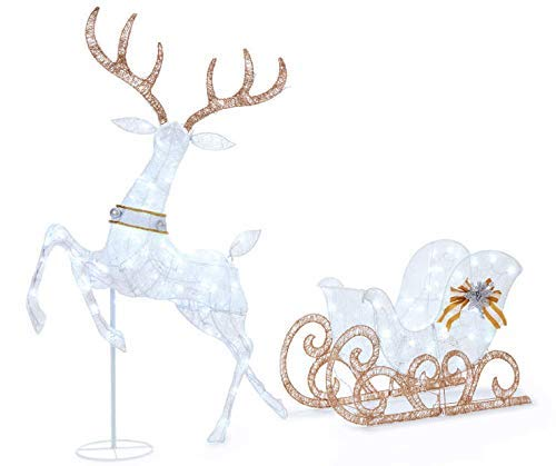 WWL 60 Inch Tall - Light-Up Deer & Sleigh, Pre-lit 2-Piece Set 210 Lights (Illuminated Christmas Decorations Outdoor)