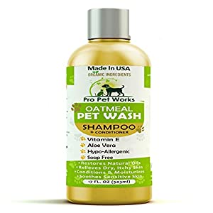Pro Pet Works All Natural Oatmeal Dog Shampoo + Conditioner for Dogs, Cats and Small Animals-Hypoallergenic and Soap Free Blend with Aloe for Allergies & Sensitive Skin- 17oz 68