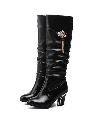 Uk6 us8 5 us6 Cn37 A Uk4 Vestido Tacón 5 Redonda Eu37 Moda Negro Eu39 Brown Casual Cuñas Botas Cono De 7 Semicuero La Cn39 Black Punta Xzz Marrón Zapatos 5 Mujer xCwqgUzAR