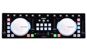 Icon I de DJ/Mini USB MIDI DJ Controlador con Touch Sensitive Scratch Wheels Negro