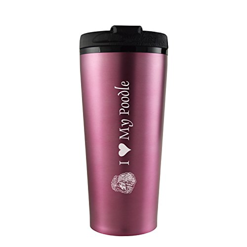 16 oz. Travel Mug Tumbler -I love my - Mug Poodle Travel