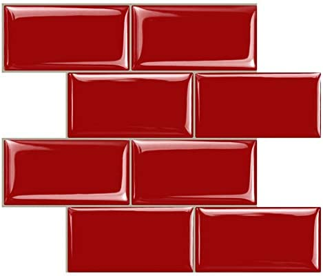 STICKGOO Peel and Stick Subway Tile, Stick on Tiles Backsplash for Kitchen  & Bathroom in Red (Pack of 1, Thicker Design)