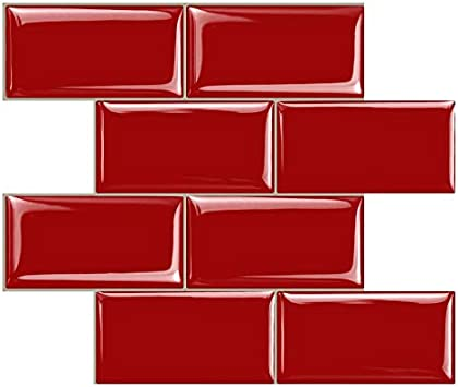 Stickgoo Peel And Stick Subway Tile Stick On Tiles Backsplash For Kitchen Bathroom In Red Pack Of 10 Thicker Design Amazon Com