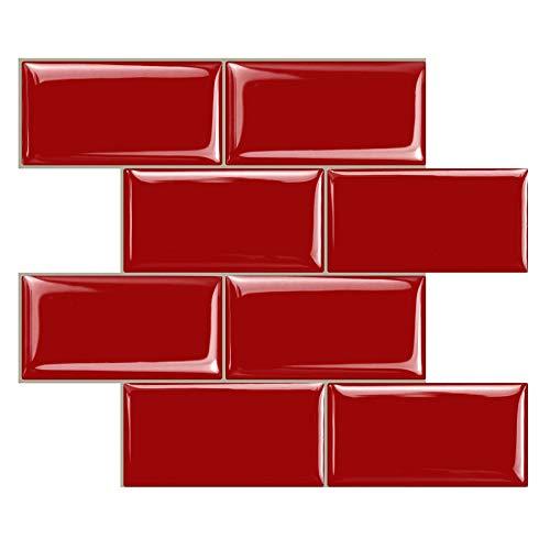 STICKGOO Peel and Stick Subway Tile, Stick on Tiles Backsplash for Kitchen & Bathroom in Red (Pack of 10, Thicker Design)