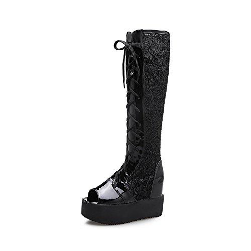 AmoonyFashion Womens Open Toe High Heels Solid Lace Up Sandals Black mZUrq