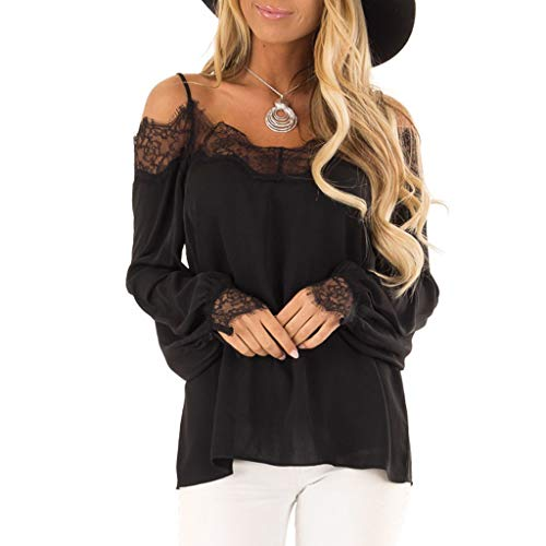 Willow S Womens Fashion Sexy Casual Camisole Lace Splicing Solid Long Sleeves Loose T-Shift Blouse Tops ()