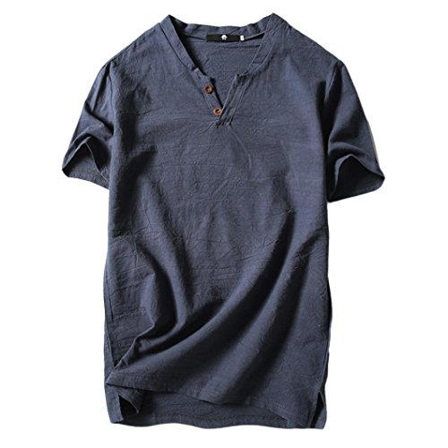 Price comparison product image Clearance Sale! Wintialy Men's Summer Casual Linen and Cotton Short Sleeve V-Neck T-Shirt Top Blouse Tee
