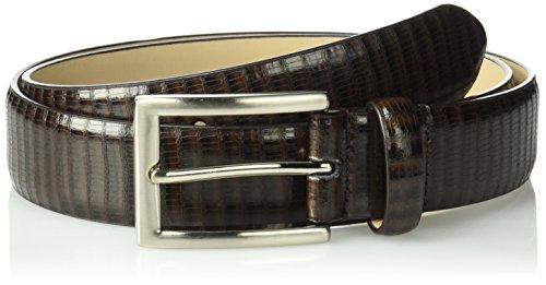 Stacy Adams Men's 32mm Genuine Leather Lizard Embossed Belt, Brown, 34 (Stacy Adams Embossed Belt)