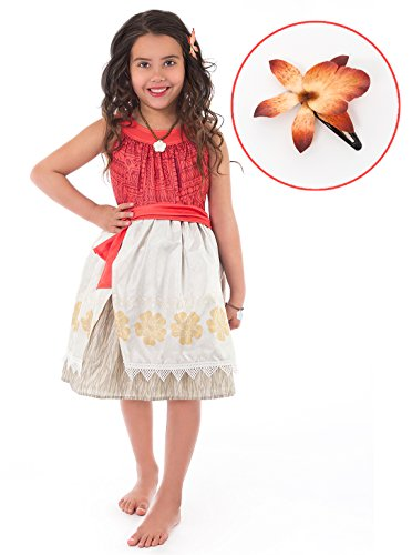Little Adventures Polynesian Princess with Hair Clip Dress Up Costume Size XL Age 7-9