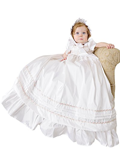 Jessa 18 Month Heirloom Silk Christening Gown for Girls, Made in USA