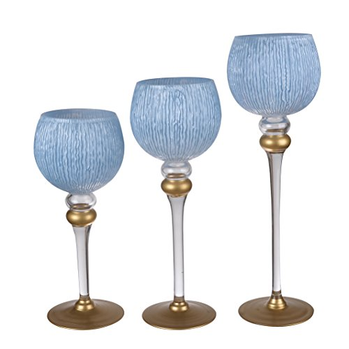 A&B Home 75623-BLWH Ballico Candle Holders (Set of 3), 16''/14''/12'', Blue/White by A&B Home