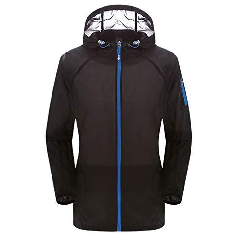 TnaIolral Ladies Jacket Windproof Outdoor Bicycle Sports Quick Dry Windbreaker Coat Top (XXL, Black)