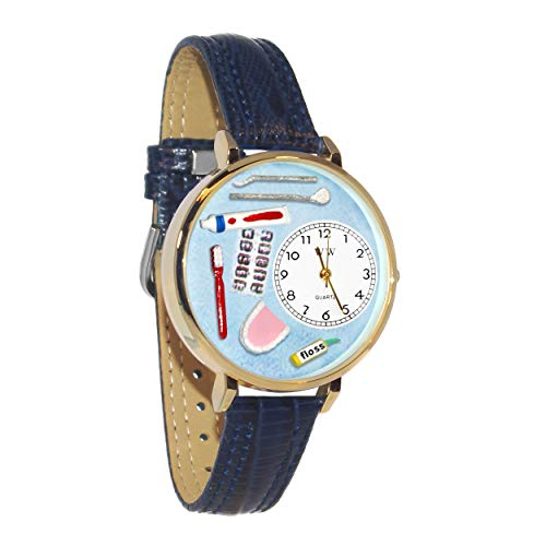 (Whimsical Watches Unisex G0620001 Dentist Blue Leather Watch)