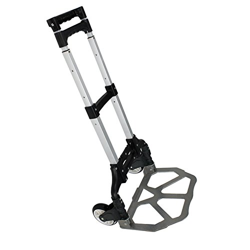 F2C Folding Aluminium Cart Luggage Trolley 170 lbs Capacity Hand Truck with Black Bungee Cord Included (Black) by F2C