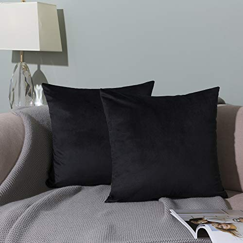 WLNUI Set of 2 Soft Velvet Solid Black Decorative Square Throw Pillow Covers Set Cushion Case for Sofa Couch Home Decor 18x18 Inches 45x45 cm (Pillow Decorative Throw Black)