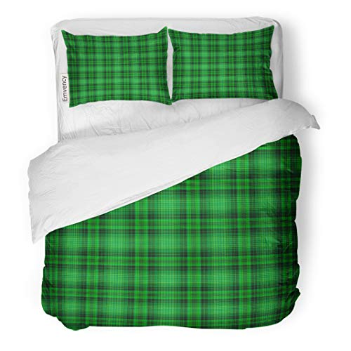 (Semtomn Decor Duvet Cover Set Twin Size Pattern Green Plaid Irish Kelly Bright Check Checkered Clover 3 Piece Brushed Microfiber Fabric Print Bedding Set Cover)