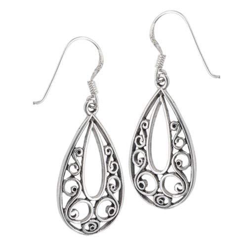 Teardrop Dangle Filigree Scroll Open 925 Sterling Silver Swirl Bohemian Earrings ()