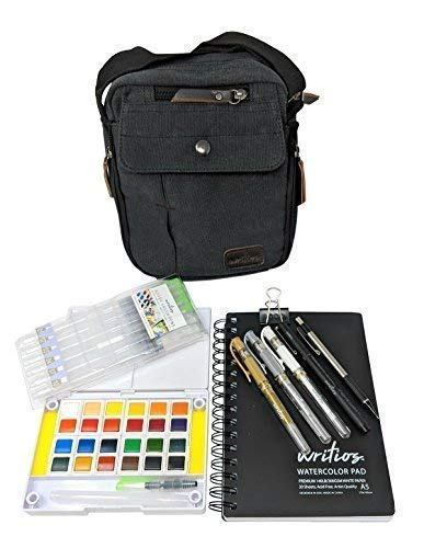 Watercolor Paint Set - Satisfy Your Artistic Urge When Inspiration Hits - The Most Complete Watercolor Travel Kit by Writios