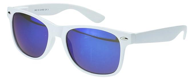 Sense42 Retro Sonnenbrille mit transparent blau Rahmen, blau verspiegelte Gläser, Nerdbrille Wayfarer-Stil Damen Herren Unisex mit Brillenbeutel