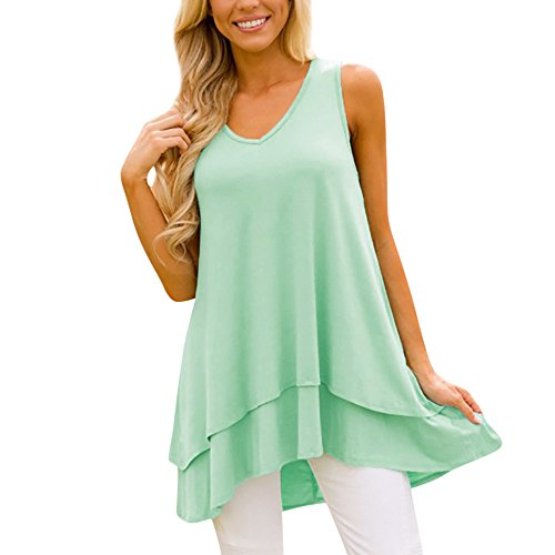 Londony✚‿✚ Womens Tunic Plus Size Candy Color Long Flowy Tank Top V-Neck Loose Basic T Shirt Green
