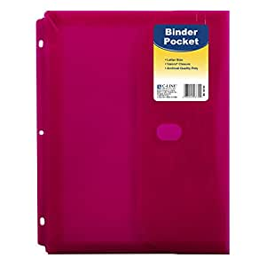 C-Line Super Heavyweight Poly Binder Pocket with Hook & Loop Closure, Side Loading, 1-Inch Gusset, 1 Pocket, Color May Vary (58730)