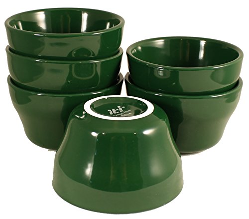 Green Bouillon Cup - ITI Ceramic Stackable Bouillon Cups with Pan Scraper, 7 Ounce, 6-Pack (Green)
