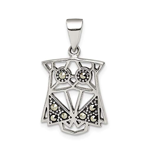 925 Sterling Silver Antiqued Marcasite Owl Charm -