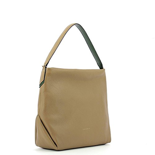 Shoulderbag in leather TAUPE/IMPERIAL