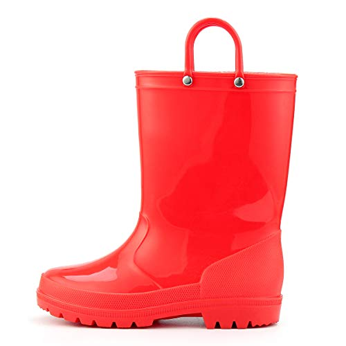 (KomForme Girl Kid Rain Boots, PVC Rain Boots with Memory Foam Insole and Easy-on Handles Red)