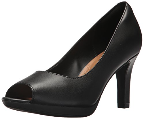 CLARKS Women's Adriel Phyliss Pump, Black Leather, 10 Medium US
