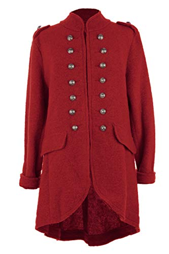 (Ladies Women Italian Lagenlook Boiled Wool Button Detail Military Jacket Coat One Size (Red, One Size))